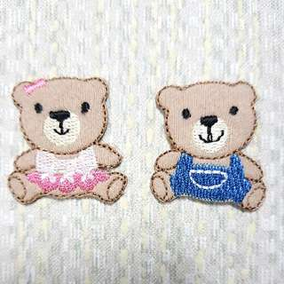 Iron On Patch/ Applique ↪ Brown Bear Boy & Girl 💱 $3.50 Each Set - 2 Piece