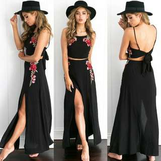 PO flower embroidery maxi