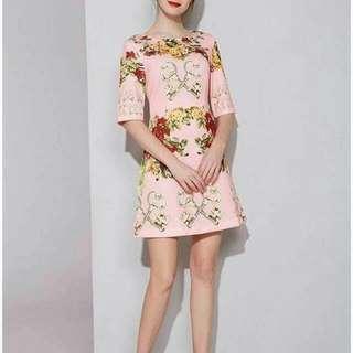 3D full floral elegant dress