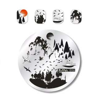 ZJoys06 Nail Art Stamp Round 304 Stamping Plates Template Set Cute Animal Birds Swan Hill Image 5.5cm Round Manicure Plate