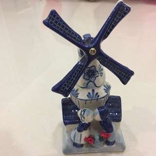 Ceramic hand painted windmill from Holland