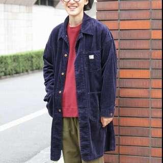 全新 Coen smiths 燈芯絨 日本 長版 外套 風衣 復古 絨布 金釦 美式 外搭 男裝 女裝