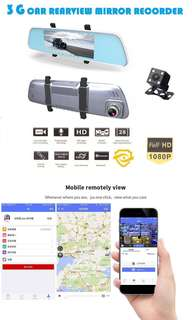 Full-HD 1080P Car Rearview Mirror Recorder (GPS Navigation - 6.86 Touchscreen - Bluetooth - Goggle Maps - Wifi Remote View - Rear Camera Display - Build in G-Sensor) Dash Cam Car Recorder