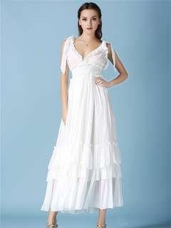 AO/KZC071307 - High Quality V-Neck Flouncing Elastic Waist Fairy Prom Dress