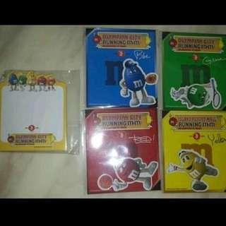 M&Ms 磁石貼 4 款 + memo pad - 商場活動紀念品 (全新未拆開)