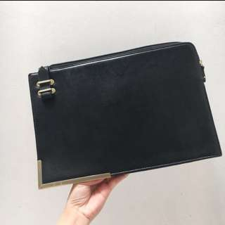 Forever21 clutch black gold
