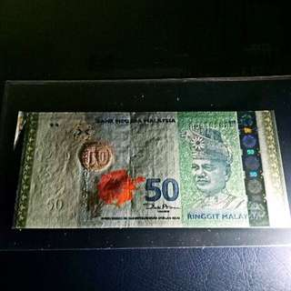 🔥cutting error 🔥super strong embosing🔥Malaysia 12th series fifty dollar (GEM UNC)