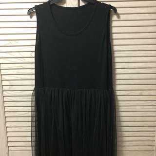 Long Black Mesh Dress