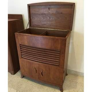 Vintage Art Deco Vinyl Record Player Burmese Teak Wood Cabinet
