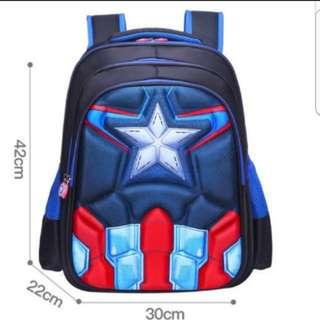 In stock Captain America Design School Bag For Primary 4 to 6 Children size is 30  × 22 × 42 cm