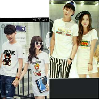 Wear fashion dress + tee shirt/tee shirt couple
