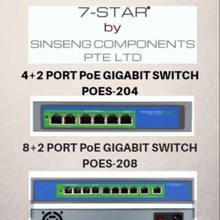 Poe Gigabit Switch - PoE Splitter - Poe Network IP Camera - Network Video Recorder - NVR - 8 port poe switch