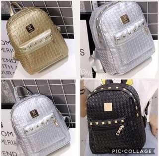 BN INSTOCK Korean Studded PU Leather Bagpack