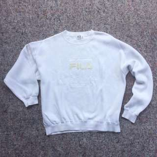 FILA GOLF WEAR KNIT CREWNECK WHITE