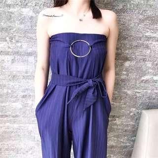 🚚 022708(S~L)正韓新品 性感條紋抹胸連體闊腿褲