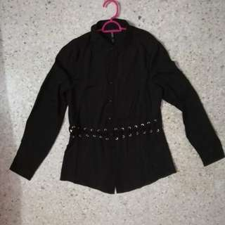 readystock black long sleeve waist criss cross formal top gothic lolita