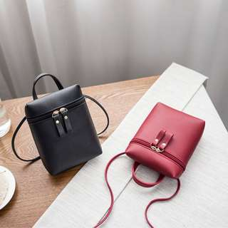 Zip Around Mini Bag - Black/Red