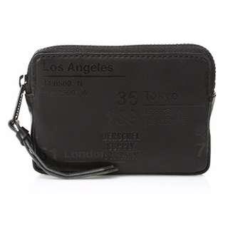 AUTHENTIC Herschel Supply Co. Women's Men's Leather wallet coin purse key pouch unique black