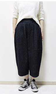 Initial wide egg cropped pants 9分吊腳褲