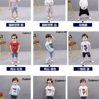 Po-free mail- all in 1 set children top short dress boy gal designer
