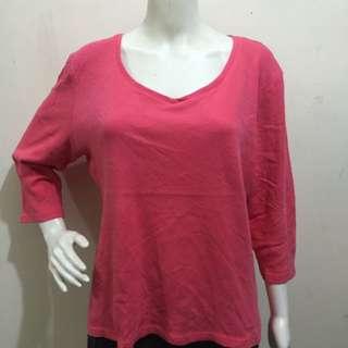 KAREN SCOTT pink 3/4 plain plus size ladies blouse xl