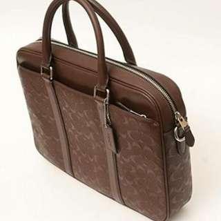 Coach Signature Briefcase Bag Mahogany