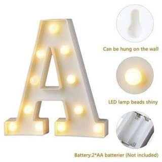 White plastic letter led night light marquee sign alphabet light lamp