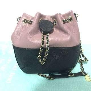 2 ways mini leather bucket bag