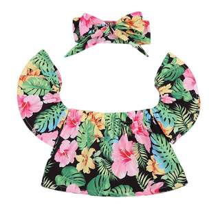 BN Floral Off-shoulder Top with matching Headband