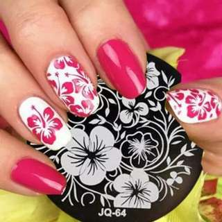 Fashion Designs Nail stamping plate - JQ64 1PC On Sale ! Rose Flower Nail Art Stamp Template Image Plate JQ Nail Stamping Plate