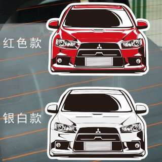 Red Mitsubishi Evolution X Sticker / Decal