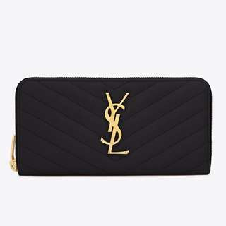 YSL MONOGRAM ZIP AROUND WALLET 代購