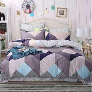 BS4Pcs A013 4 in 1 Premium Bedsheet Set - Geometrical Design