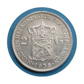 1938 Netherlands 2 1/2 Gulden Silver Coin