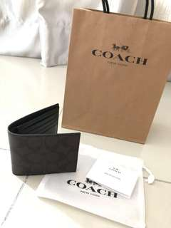 OFFER!!! Coach Compact ID wallet in signature canvas