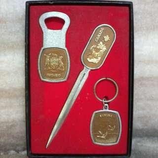Vintage Canada key ring letter opener set
