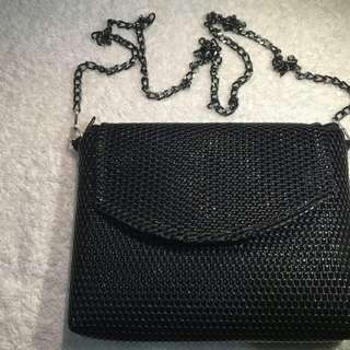 Black Shiny Sling Bag