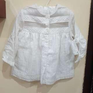Kemeja Putih Anak Perempuan Size 1-2 (Pito Dito)