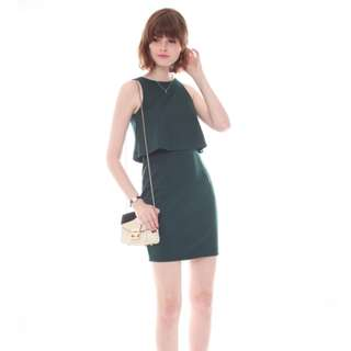 Anticlockwise Two Tier Layered Work Dress In Emerald