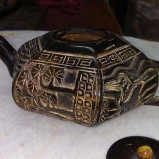 牛角挑花砌茶壺 古玩朋友寄售