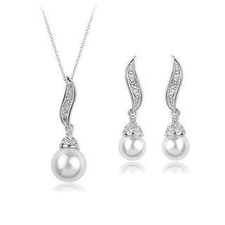 Pearl Drop Crystal Jewelry Set