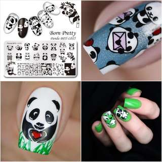 BORN PRETTY Cute Panda Nail Stamping Plate Manicure Rectangle Nail Art Image Template BPX-L015
