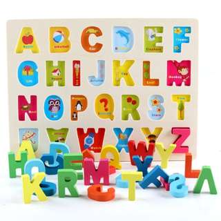 *In Stock* BN Wooden Alphabet A-Z Uppercase Letter Puzzle Sorter Board Toy