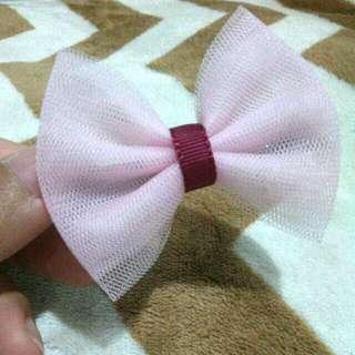 Jepit imut handmade bahan tile soft pink