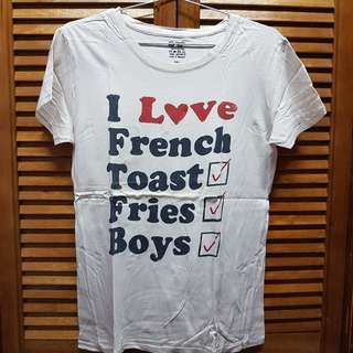 Doodle Dan I Love French Toast Fries Boys Beige Tee T-shirt