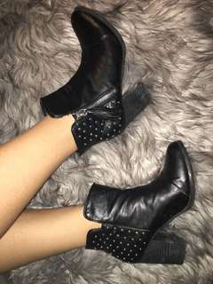 Studded leather heeled booties