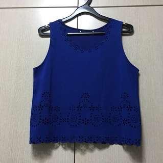 Electric Blue Lace Top