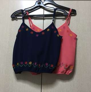 Chiffon crop top in Navy blue and Peach pink