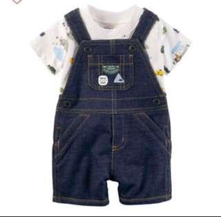 *9M* Brand New Carter's 2-Piece Top & Shortalls Set For Baby Boy
