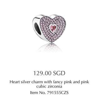 Pandora heart silver charm with fancy pink and pink cubic zirconia
